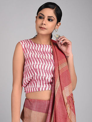Pink-White Handwoven Ikat Cotton Blouse