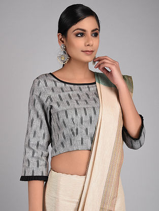 Grey-Black Handwoven Ikat Cotton Blouse
