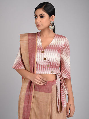 Pink-Ivory Handwoven Ikat Cotton Blouse