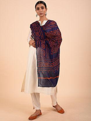 Blue-Orange Bandhej Cotton Dupatta
