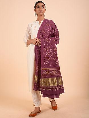 Purple Bandhej Cotton Dupatta