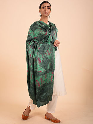 Green Bandhej Gajji Silk Dupatta