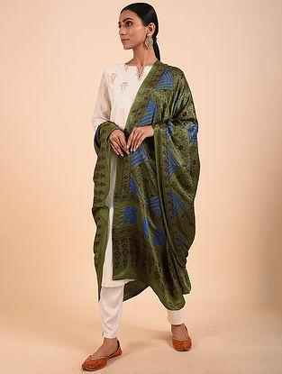 Green-Blue Bandhej Gajji Silk Dupatta