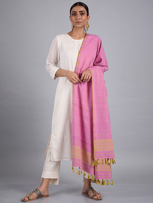 Pink Handwoven Cotton Dupatta
