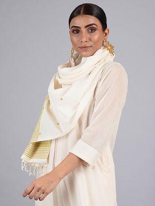 White-Golden Handwoven Cotton Stole