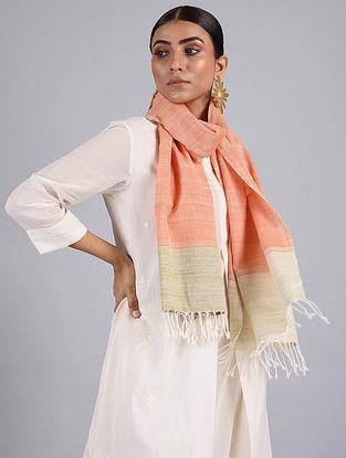 Orange-Beige Handwoven Cotton Stole