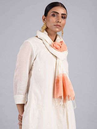 White-Peach Handwoven Cotton Stole