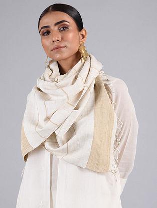 Off White-Beige Handwoven Silk Stole