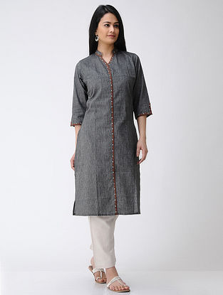 Grey-Brown Hand-embroidered Cotton Kurta