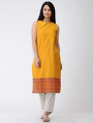 Yellow-Rust Hand-embroidered Cotton Kurta