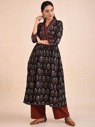 Black Ajrakh Block Printed Cotton Kurta