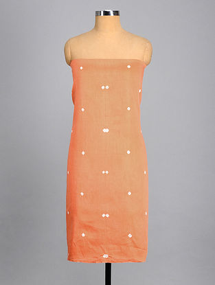 Orange-While Bandhej Cotton Kurta Fabric