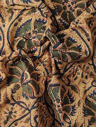 Beige Kalamkari Block Printed Cotton Fabric