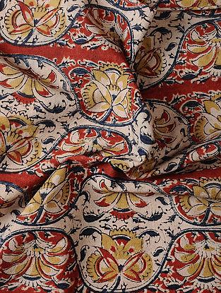Ivory Kalamkari Block Printed Cotton Fabric
