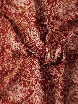 Red-Beige Kalamkari Block Printed Cotton Fabric