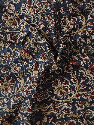 Blue Kalamkari Block Printed Cotton Fabric