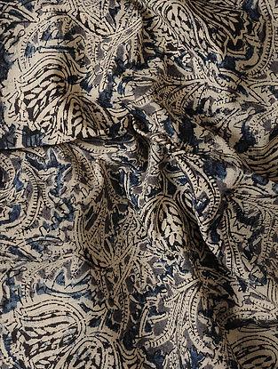 Blue-Ivory Kalamkari Block Printed Cotton Fabric