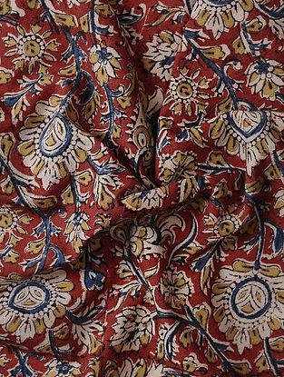 Red-Ivory Kalamkari Block Printed Cotton Fabric