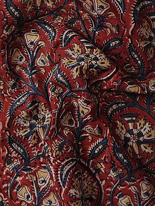 Red-Yellow Kalamkari Block Printed Cotton Fabric