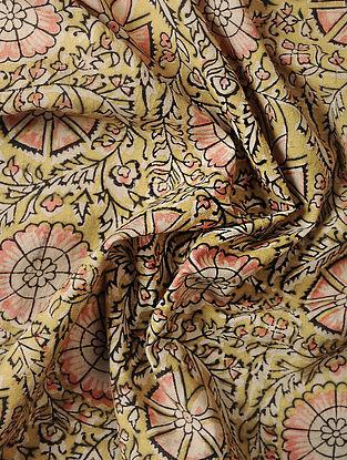 Yellow-Pink Kalamkari Block Printed Cotton Fabric