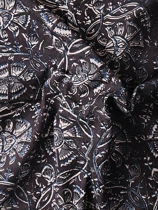 Burgundy-Blue Kalamkari Block Printed Cotton Fabric