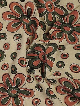 Ivory-Green Kalamkari Block Printed Cotton Fabric
