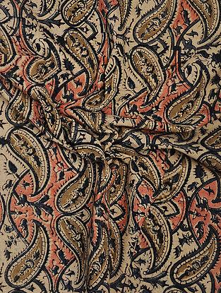 Beige-Red Kalamkari Block Printed Cotton Fabric