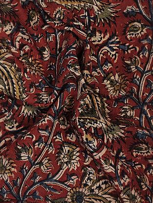 Red Kalamkari Block Printed Cotton Fabric