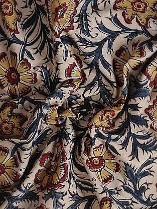 Ivory-Blue Kalamkari Block Printed Cotton Fabric