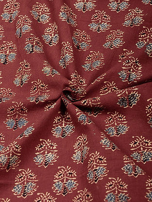 Red-Blue Ajrakh Printed Cotton Fabric