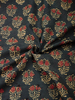 Grey-Red Ajrakh Printed Cotton Fabric