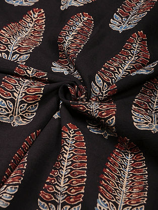Black-Red Ajrakh Printed Cotton Fabric