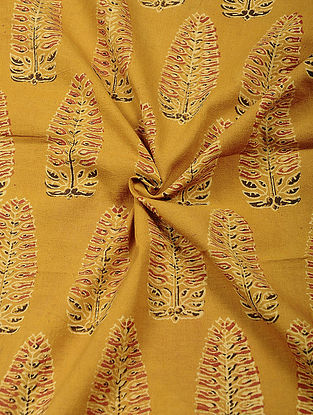 Yellow Ajrakh Printed Cotton Fabric