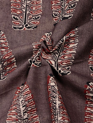 Brown-Red Ajrakh Printed Cotton Fabric