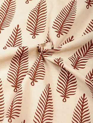 Ivory-Red Ajrakh Printed Cotton Fabric