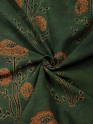 Green Ajrakh Printed Cotton Fabric