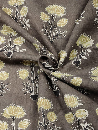 Grey-Yellow Ajrakh Printed Cotton Fabric