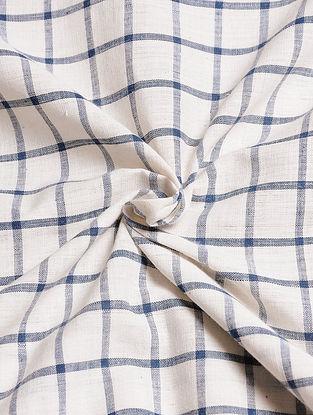 White-Blue Handwoven Malkha Fabric