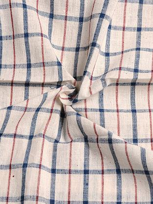 Off White-Blue Handwoven Malkha Fabric