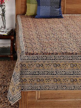 Beige-Multicolor Kalamkari Cotton Single Bedsheet (94in x 72in)