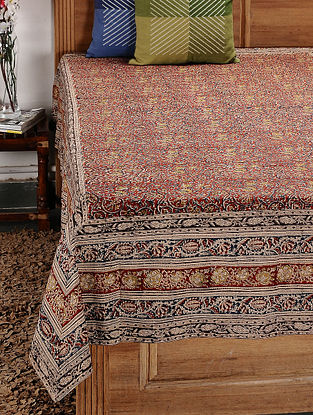 Beige-Multicolor Kalamkari Cotton Single Bedsheet (92in x 59in)
