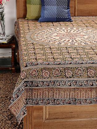 Beige-Multicolor Kalamkari Cotton Single Bedsheet (90in x 59in)