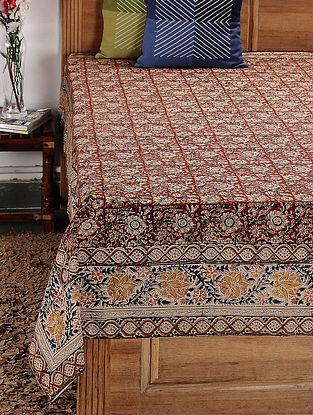 Beige-Multicolor Kalamkari Cotton Single Bedsheet (89in x 59in)