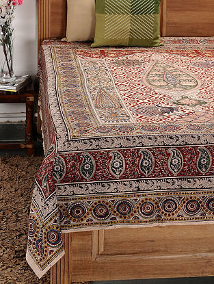 Beige-Multicolor Kalamkari Cotton Double Bedsheet (106in x 88in)