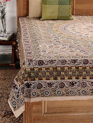 Beige-Multicolor Kalamkari Cotton Double Bedsheet (108in x 88in)