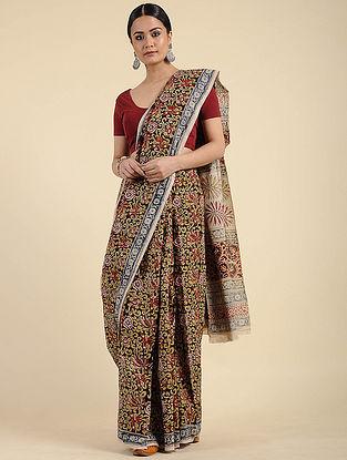 Multicolored Kalamkari Block Printed Cotton Saree