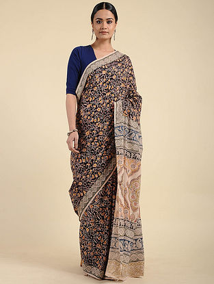 Black-Beige Kalamkari Block Printed Cotton Saree
