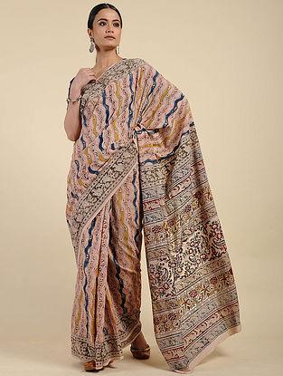 Pink-Blue Kalamkari Block Printed Cotton Saree