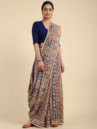 Beige-Blue Kalamkari Block Printed Cotton Saree