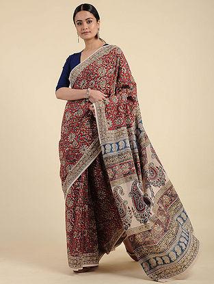 Red-Beige Kalamkari Block Printed Cotton Saree